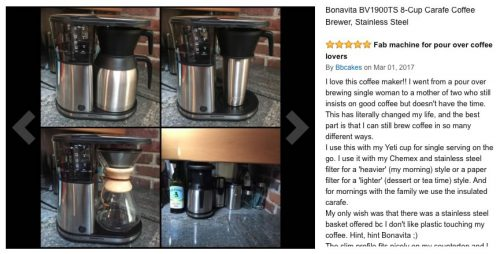 scaa certified coffee makers Bonavita BV1900TD