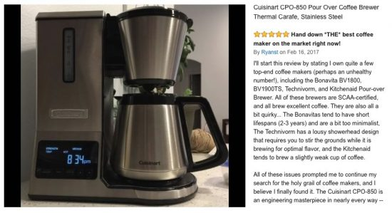 scaa certified coffee makers Cuisinart CPO-850