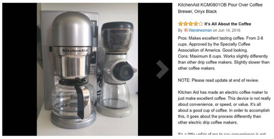 scaa certified coffee makers KitchenAid pour over coffee brewer