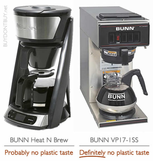 bunn heat n brew sca certified coffee maker bunn vp-17 no plastic taste