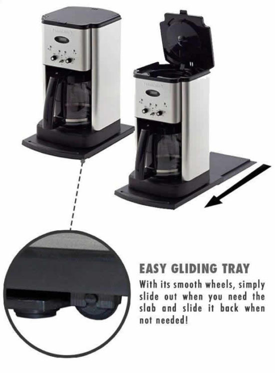 sliding tray for coffee maker