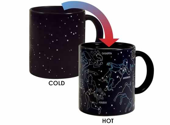 heat changing coffee mugs heat sensitive coffee mugs constellations appear