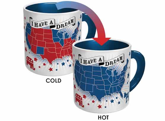 heat changing coffee mugs heat sensitive coffee mug I have a dream democrats