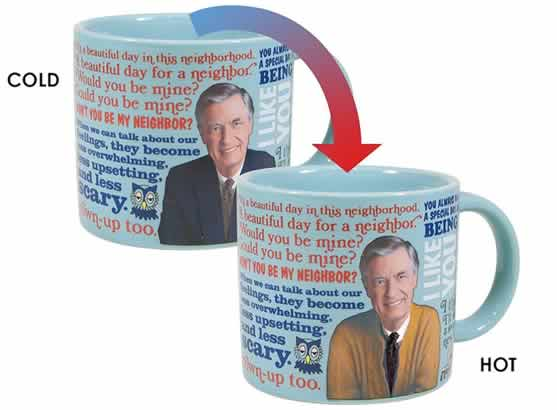 heat changing coffee mugs heat sensitive coffee mugs mr. rogers mister rogers sweater changes color