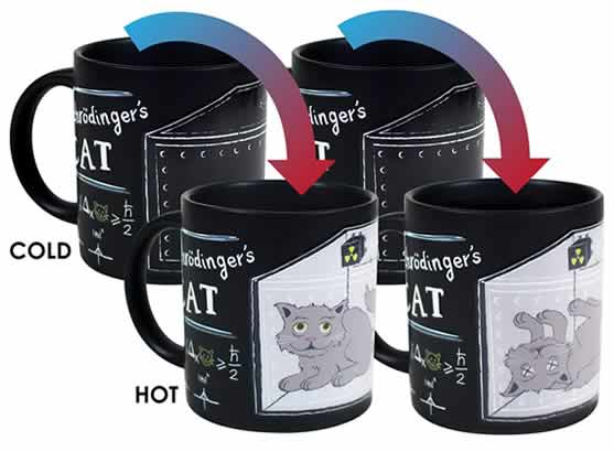 heat changing coffee mugs heat sensitive coffee mugs schrodinger's cat