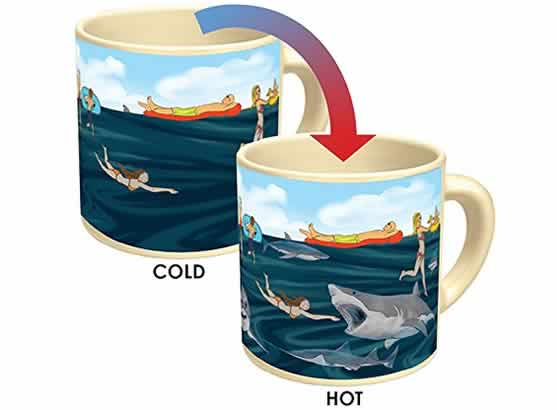 heat changing coffee mugs heat sensitive coffee mugs sharks lurking sharks attack