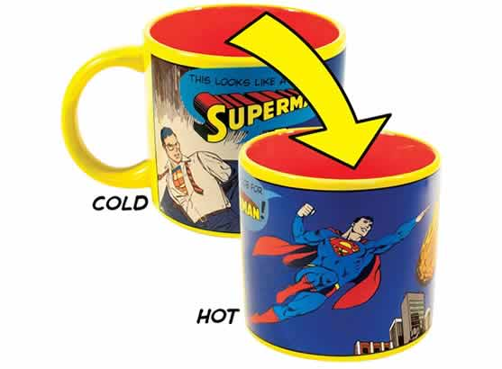 heat changing coffee mugs heat sensitive coffee mugs superman