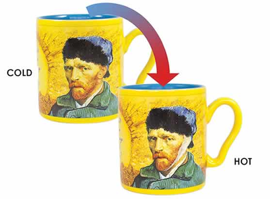 heat changing coffee mugs heat sensitive coffee mugs van gogh disappearing ear