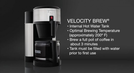 Bunn Velocity Brew coffee maker details