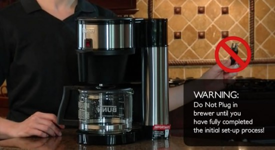 Bunn Velocity Brew coffee maker warning do not plug it in