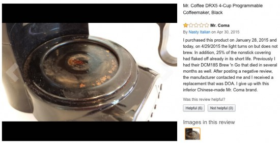 Coffee maker review of Mr. Coffee 4 cup coffee maker DRX5