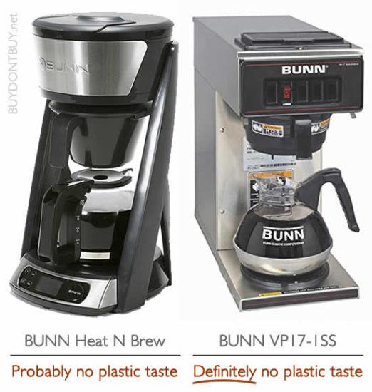 bunn heat n brew sca certified coffee maker bunn vp-17 no plastic taste