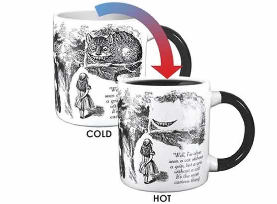 heat changing coffee mugs heat sensitive coffee mugs disappearing cheshire cat alice in wonderland