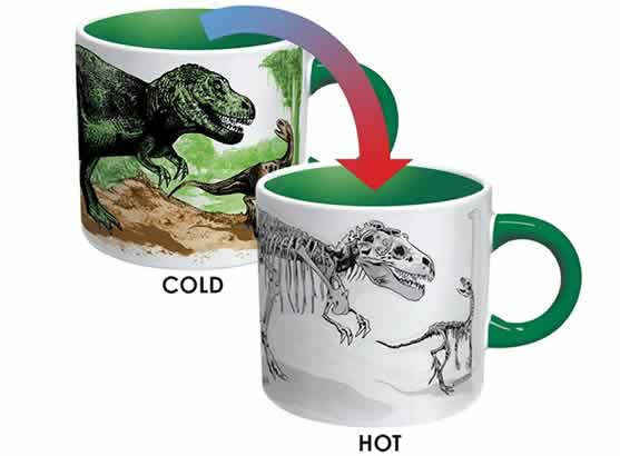 heat changing coffee mugs heat sensitive coffee mugs dinosaurs t-rex fossils