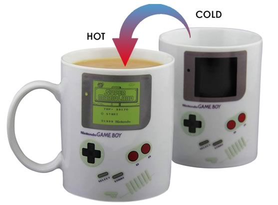 heat changing coffee mugs heat sensitive coffee mugs game boy super mario