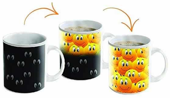 heat changing coffee mugs heat sensitive coffee mugs smiley faces cute